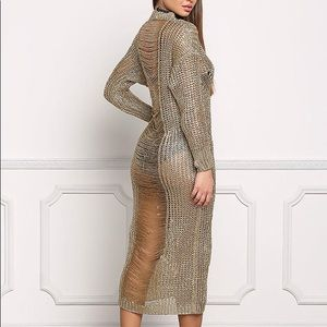 Other - NWOT GOLD METALLIC KNITTED MAXI DRESS.